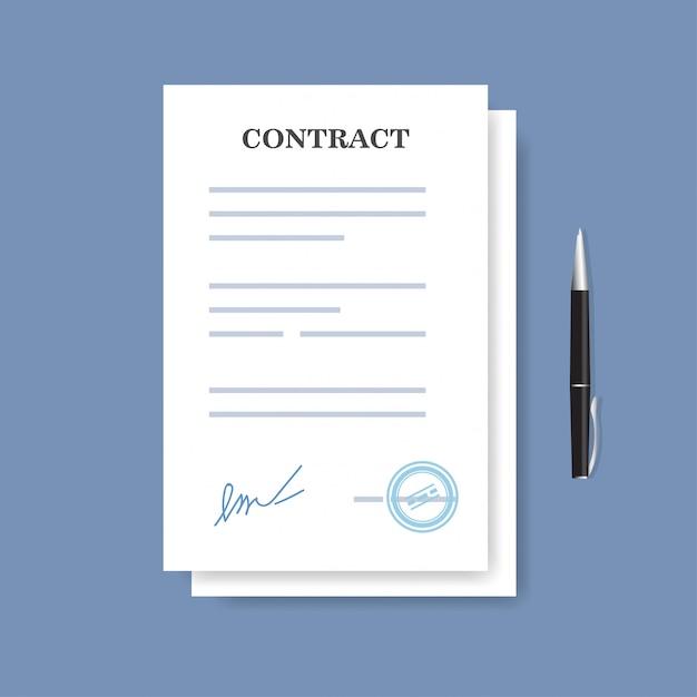 Ondertekend contract papiercontract. overeenkomst en pen op de blauwe achtergrond wordt geïsoleerd die. Premium Vector