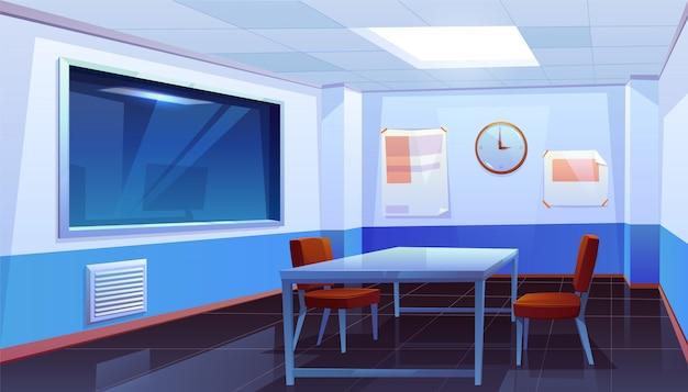 Ondervragingsruimte in binnenlands politiebureau Gratis Vector
