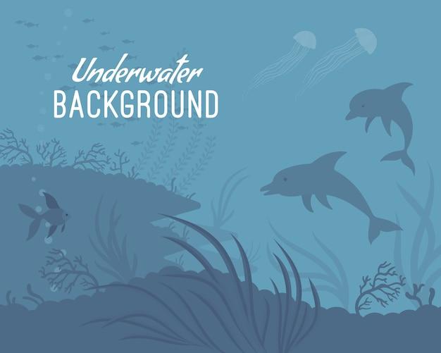 Onderwater achtergrond sjabloon met dolfijn Premium Vector