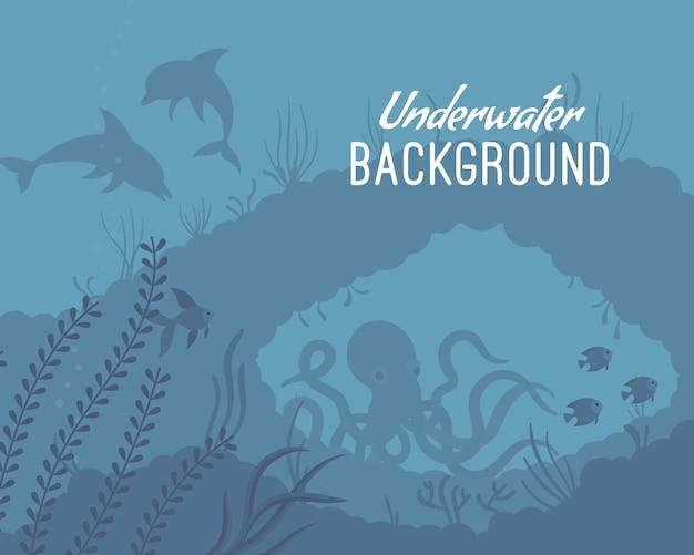 Onderwater achtergrond sjabloon met rif Premium Vector