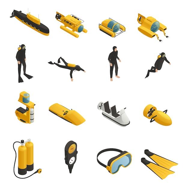 Onderwater uitrusting isometrische icons set Gratis Vector