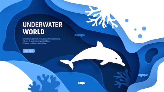 Onderwater wereld paginasjabloon. papier kunst onderwater wereld concept met dolfijn silhouet. Premium Vector