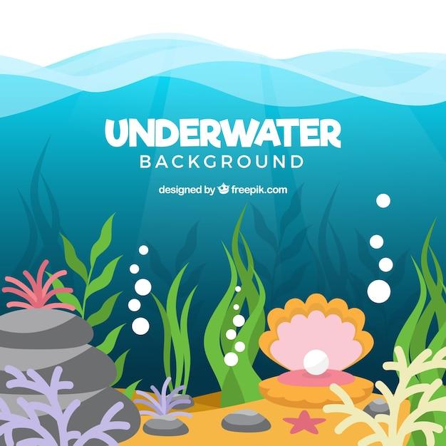 Onderwaterachtergrond met verschillende mariene soorten Gratis Vector