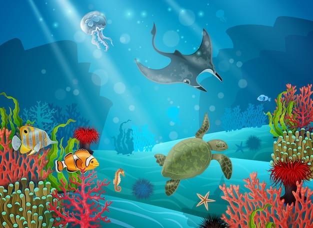 Onderwaterbeeldverhaallandschap Gratis Vector