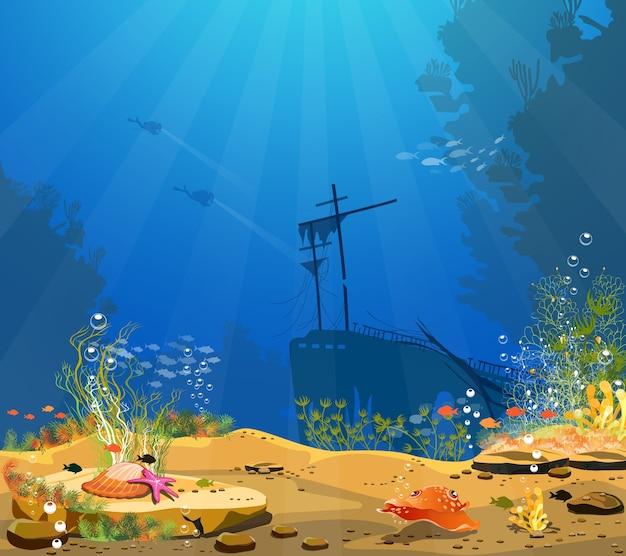 Onderwaterwereld Premium Vector