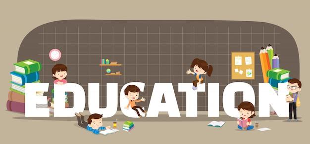 Onderwijs achtergrond Premium Vector