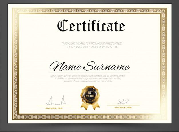Onderwijs certificaat sjabloon diploma, vector luxe moderne, award achtergrond geschenk Premium Vector
