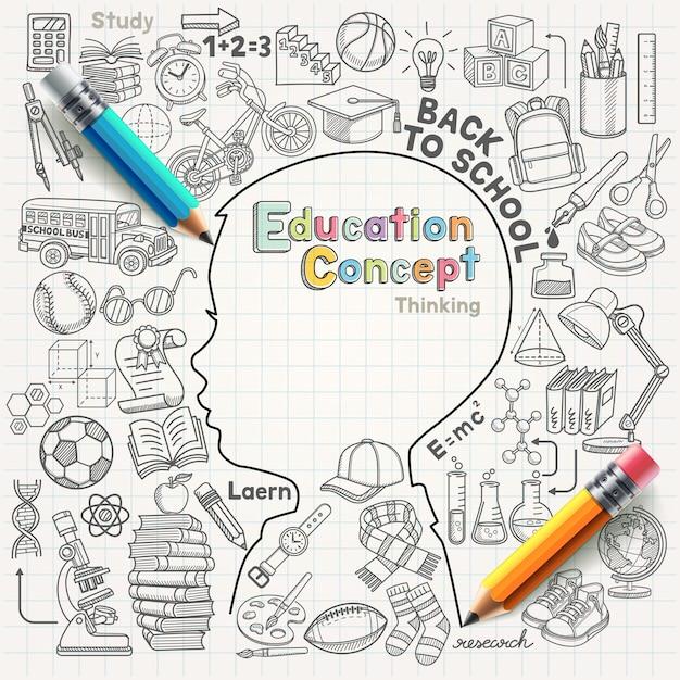 Onderwijs concept denken doodles illustratie set. Premium Vector