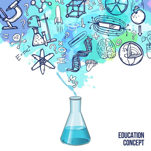 Onderwijs concept schets Gratis Vector