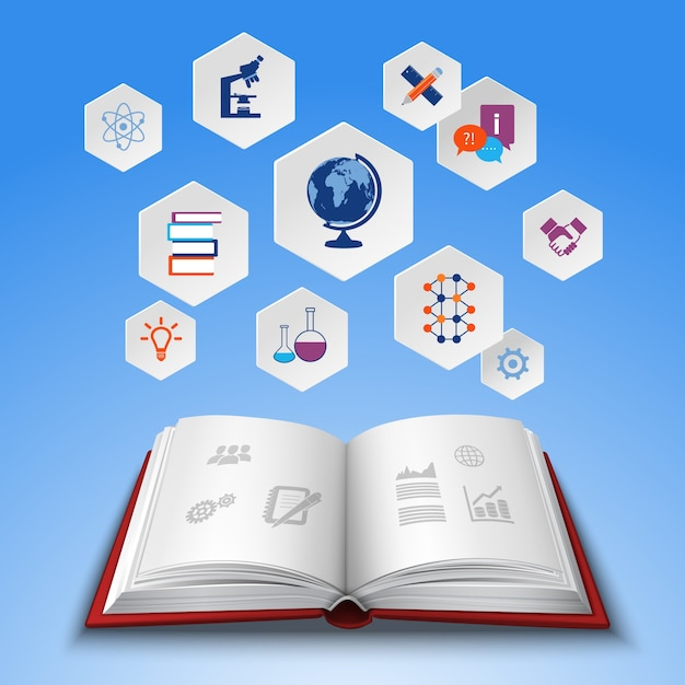 Onderwijs conceptenset Gratis Vector