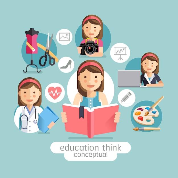 Onderwijs conceptueel denken. meisje met boeken. Premium Vector