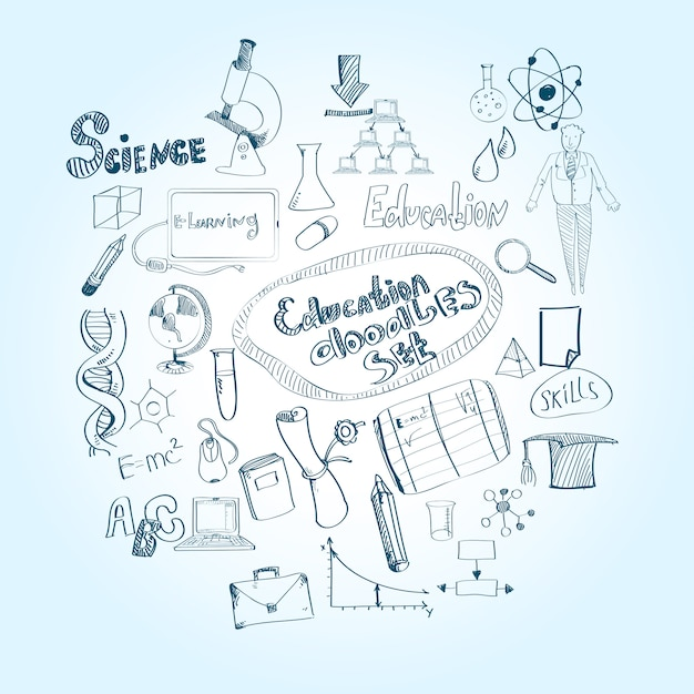 Onderwijs doodle set Premium Vector