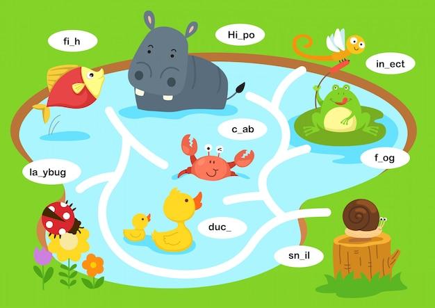 Onderwijs doolhof spel illustratie Premium Vector