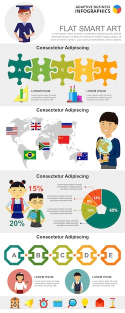 Onderwijs en bedrijfsplanning infographic grafieken instellen Gratis Vector