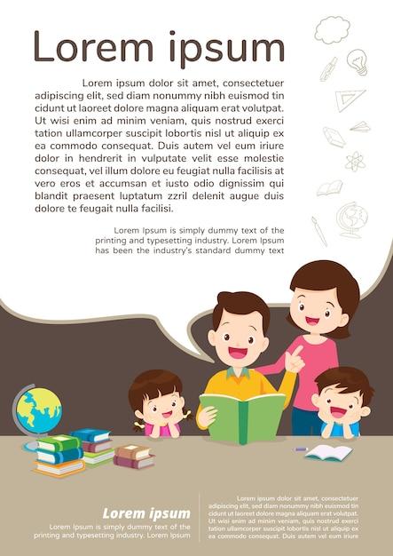 Onderwijs en leren, familie en kinderen die een boek lezen. tekstsjabloon. Premium Vector