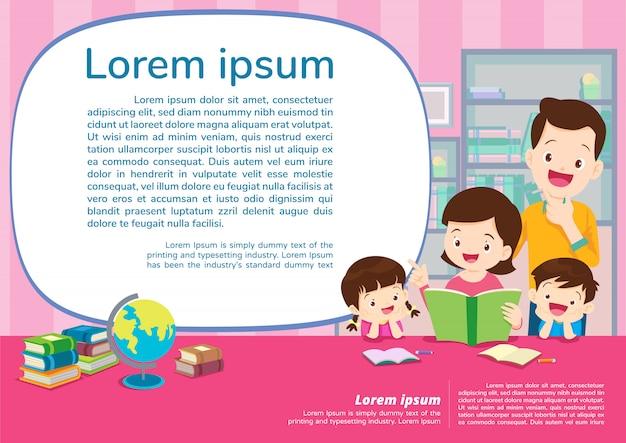 Onderwijs en leren, onderwijsconcept met familieachtergrond Premium Vector