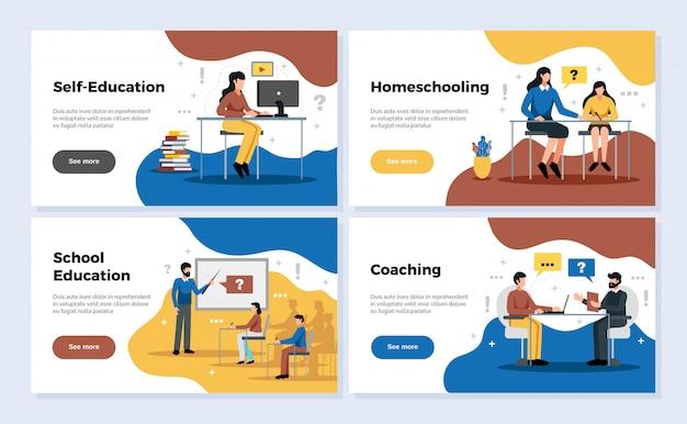 Onderwijs horizontale die banners met schoolonderwijs en het trainen symbolen worden geplaatst isoleerden vlak illustratie Gratis Vector