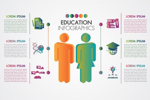 Onderwijs infographic malplaatje met elementenontwerp en 3d het leren kleurrijk concept Premium Vector