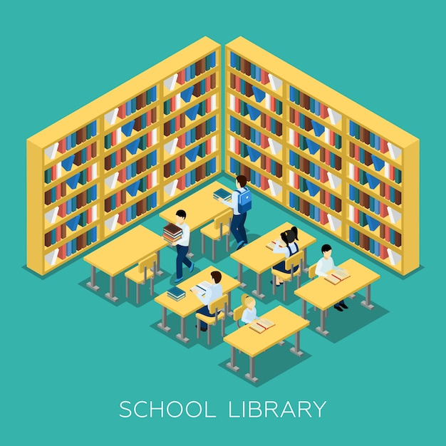 Onderwijs middle school library isometric banner Gratis Vector