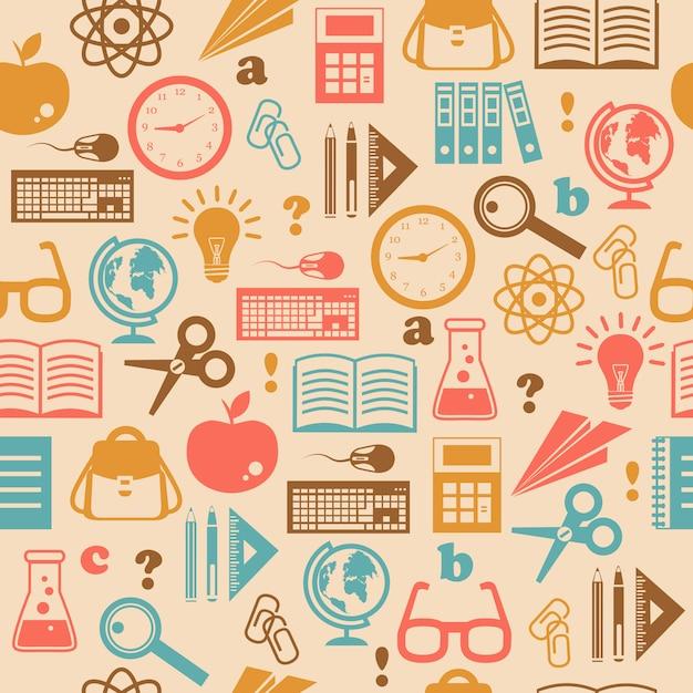Onderwijs naadloos patroon Gratis Vector