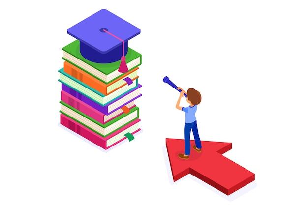 Onderwijs of zakelijk succes. isometrische student die op pijl staat en door telescoop op boeken kijkt nieuwe kansen die verwezenlijkingen van gediplomeerde doelstellingen leren. onderwijskracht. nieuwe horizonten Premium Vector