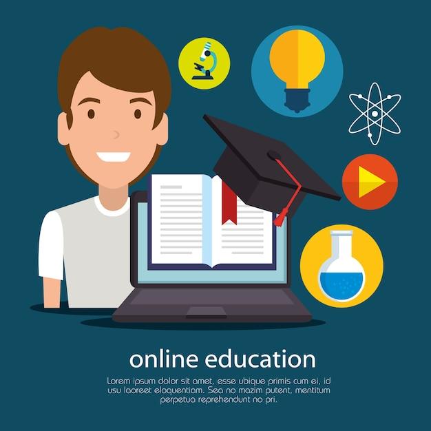 Onderwijs online met laptop Premium Vector