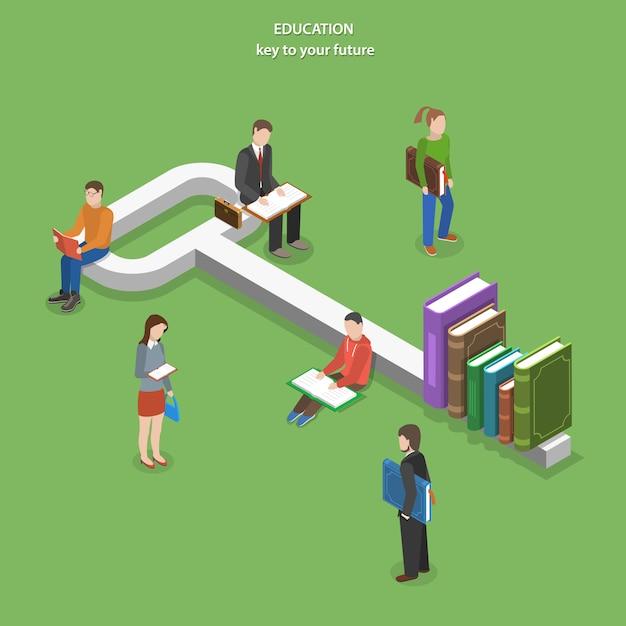 Onderwijs plat isometrisch Premium Vector