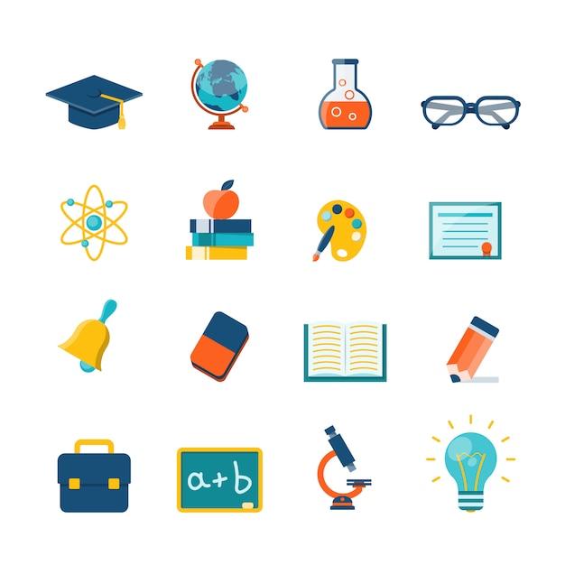 Onderwijs plat pictogrammen Gratis Vector