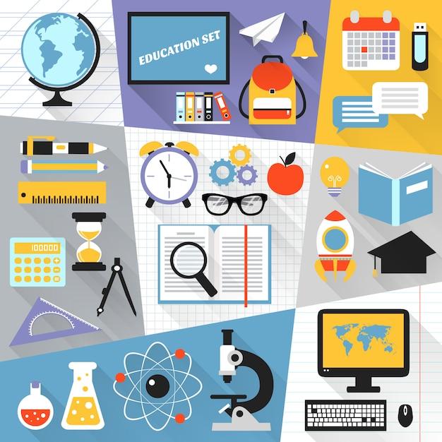 Onderwijs platte set Gratis Vector