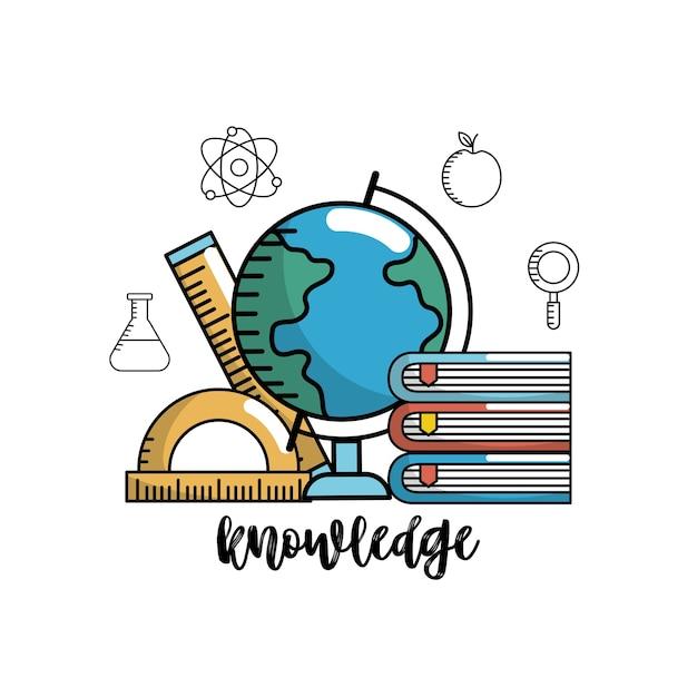 Onderwijs school kennis en gebruiksvoorwerpen ontwerp Premium Vector