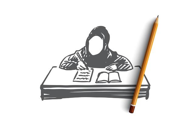 Onderwijs, school, leren, moslim, arabier, kindconcept. hand getekend moslimmeisje leren met boek concept schets. Premium Vector