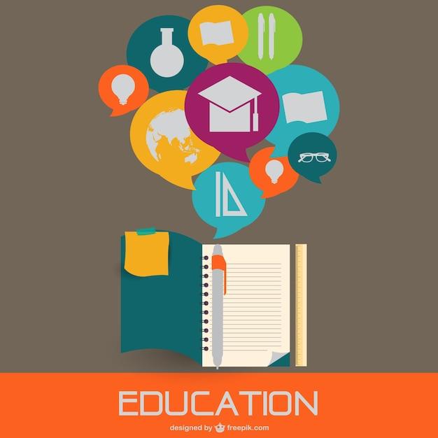 Onderwijs vlakke stijl illustratie Gratis Vector
