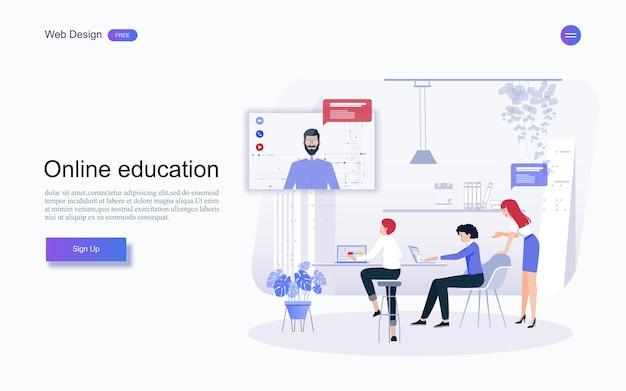 Onderwijs voor website en landingspagina sjabloon. online onderwijs, training en cursussen, leren, Premium Vector