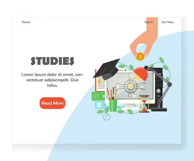 Onderwijs website bestemmingspagina ontwerpsjabloon Premium Vector