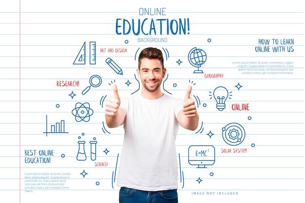 Onderwijsachtergrond met grappige pictogrammen Gratis Vector
