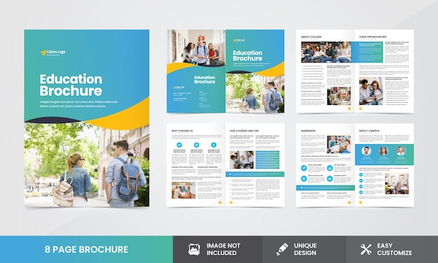 Onderwijsbedrijf brochure template Premium Vector
