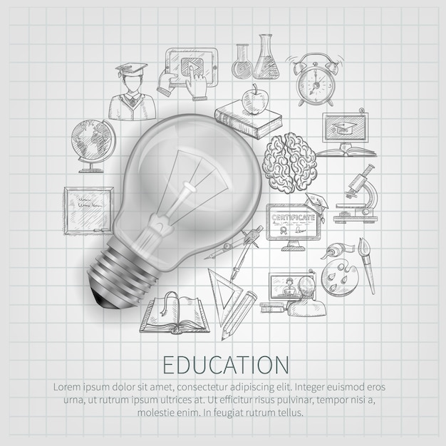 Onderwijsconcept met het leren van schetspictogrammen en realistische gloeilamp Gratis Vector
