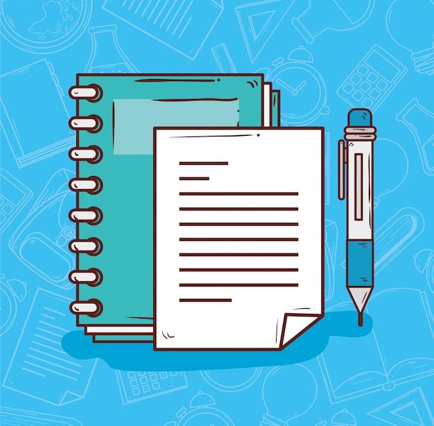 Onderwijsconcept, notitieboekje met ontwerp van de pen het vectorillustratie Premium Vector