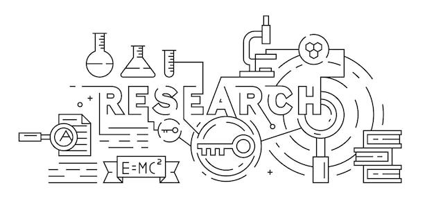 Onderzoek of wetenschap illustratie Premium Vector