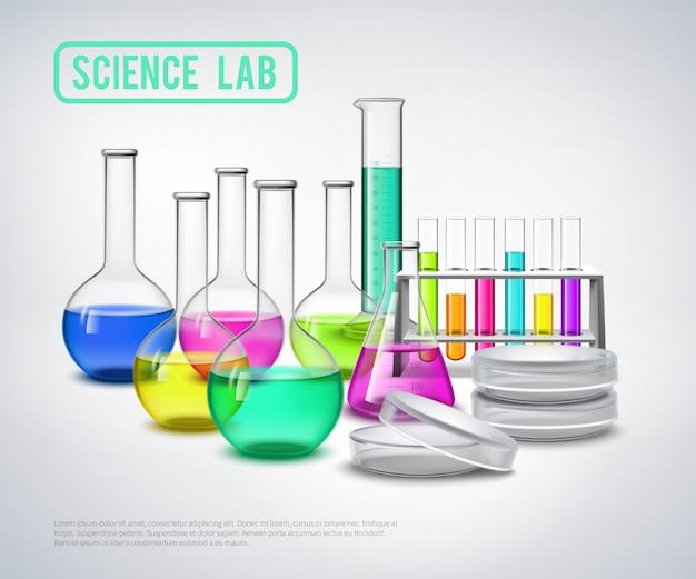 Onderzoeksmateriaal vloeistoffen samenstelling Gratis Vector