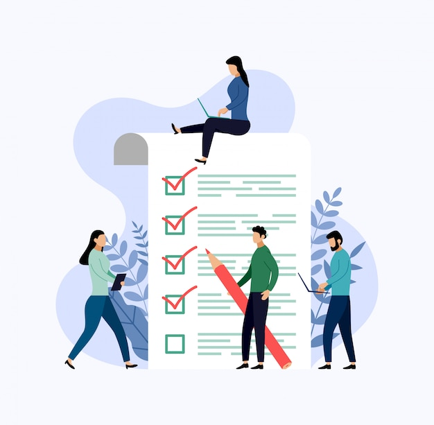 Onderzoeksrapport, checklist, vragenlijst, bedrijf Premium Vector
