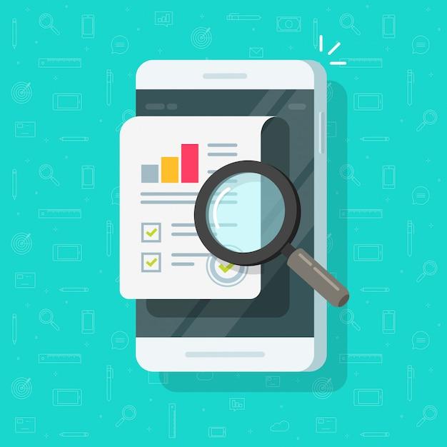 Onderzoeksrapportresultaten over mobiele telefoon of kwaliteitsgegevens en auditstatistieken over het vlakke beeldverhaal van de cellphoneillustratie Premium Vector