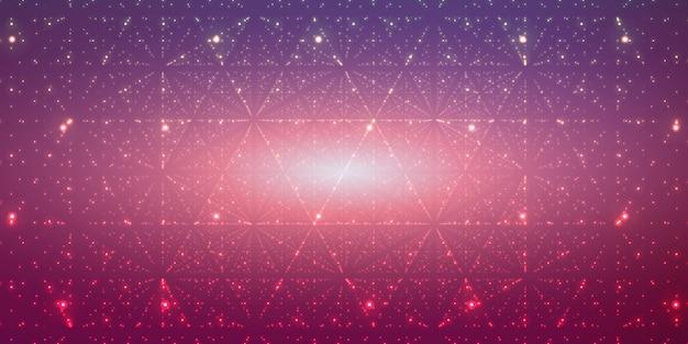 Oneindige ruimteachtergrond. matrix van gloeiende sterren met illusie van diepte, perspectief. Gratis Vector