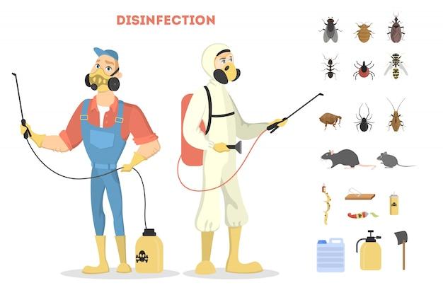 Ongediertebestrijding. desinfectie door slechte insecten of virussen. Premium Vector