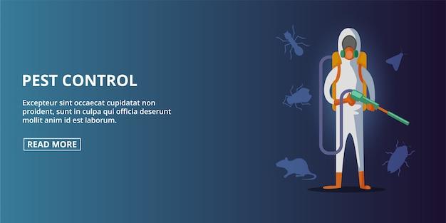Ongediertebestrijding horizontale banner, beeldverhaalstijl Premium Vector