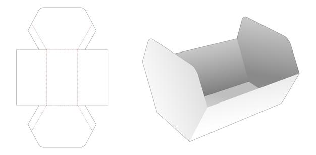 Ongelijke zeshoekige bak met deksel gestanst sjabloon Premium Vector