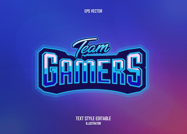 Ongelooflijke tekststijl met gamerconcept Premium Vector