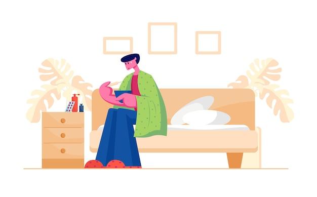 Ongelukkig, zieke man, zittende, op, sofa, gewikkeld, om te, plaid, hebben, koorts, het meten, temperatuur, met, thermometer, en, breed scala van, medicijnen en drugs, staan, op, avondtafel., spotprent, platte, illustratie Premium Vector