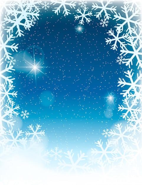 Ongericht winter landschap achtergrond met sneeuwvlokken Premium Vector