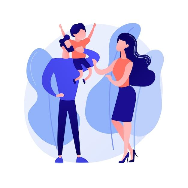 Ongetrouwde ouders abstract begrip vectorillustratie. ongehuwd paar vechten, partners die samenwonen, alleenstaande zwangere vrouw, echtscheiding en scheiding, ongehuwde moeder abstracte metafoor. Gratis Vector